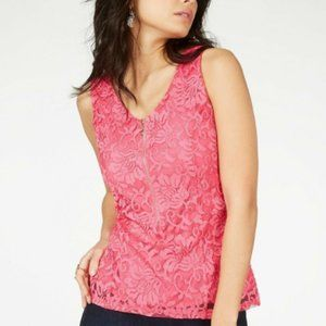 New Thalia Sodi  Lined Lace Zipper-front Top